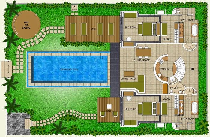 Foundation dezin decor villa bungalow floor layout for Pool design layout