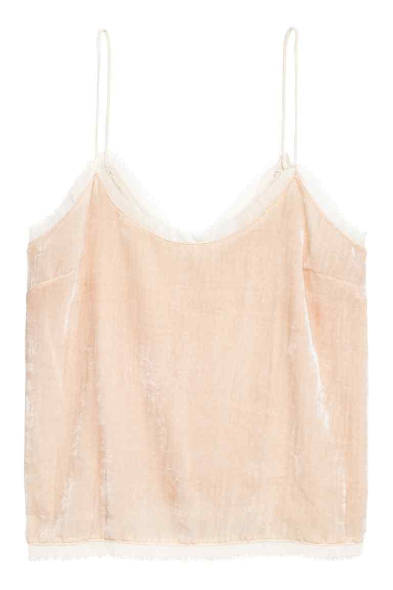 H&M aksamitny różowy top na ramiączkach
