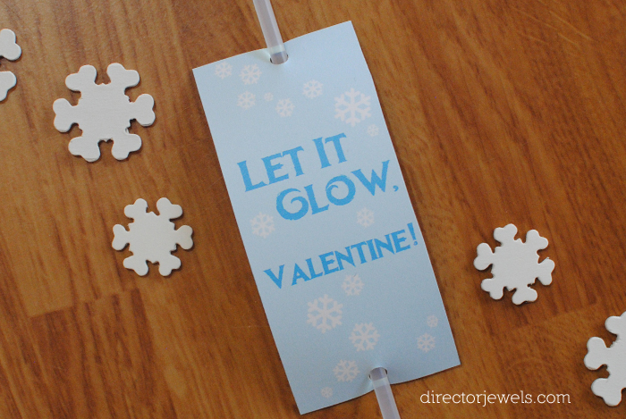 "Frozen Valentines, ""Let It Glow"" Frozen Inspired Classroom Valentine Cards, Glow Stick Valentine Card at directorjewels.com"