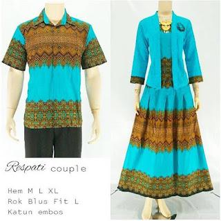 model baju batik sarimbit pasangan muslim