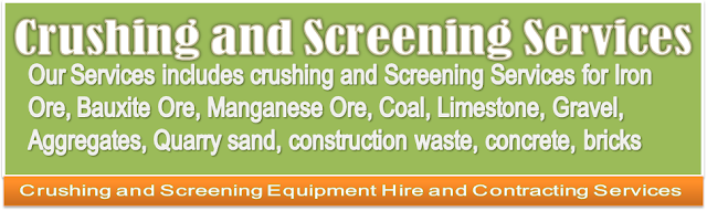 Portable Mobile Crushers, Crushing services and Screening services for Iron Ore, Bauxite Ore, Managnese Ore, Rock, Stone, Gravel, Coal, Limestone, Dolomite, aggregates