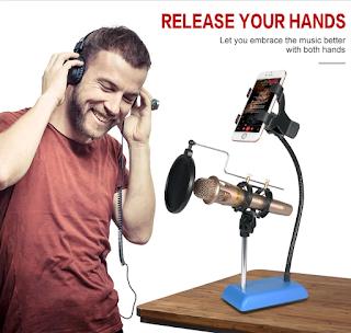 supporto da tavolo per microfono cellulare
