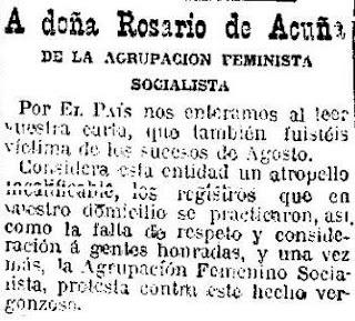 Fragmento del escrito de la Agrupación Feminista