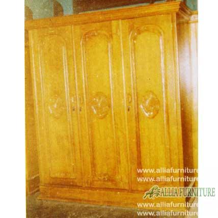 lemari pakaian ukiran kayu jati model angsa 3 pintu