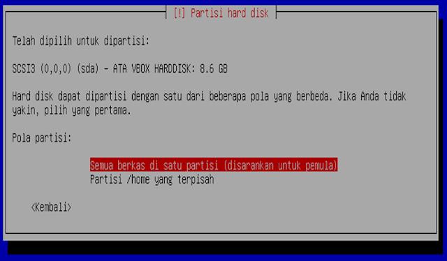 Instalasi Debian - Semua berkas di satu partisi (disarankan untuk pemula)