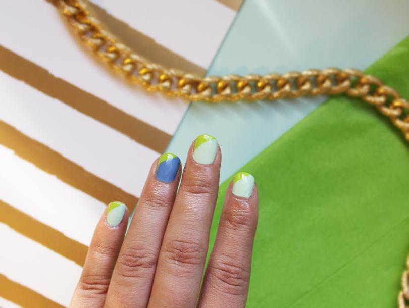 nail art nails notd geometric colorblock color block green blue mint bettina china glaze sally hansen design tutorial