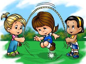 Dibujo de niñas jugando a salta soga a colores
