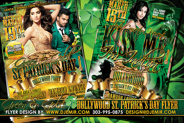 Kiss Me I'm Indian Green And Gold Bollywood St. Patrick's Day Flyer Design