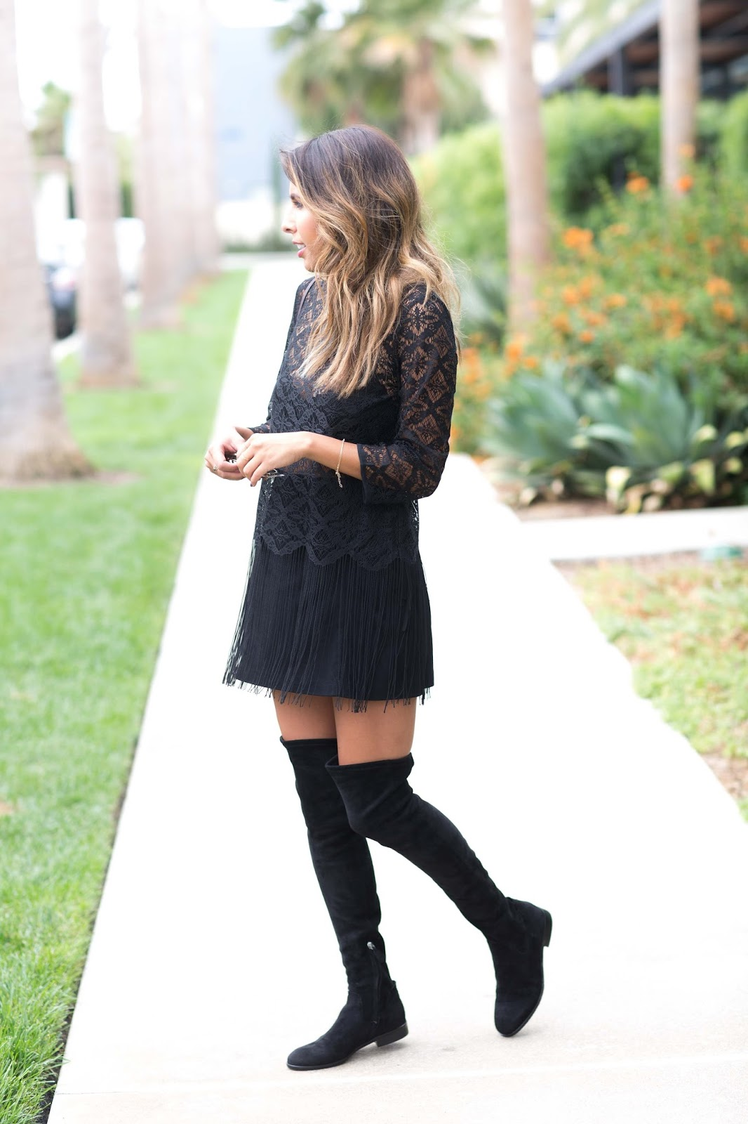 how to style OTK boots, Dolce Vita OTK black boots, How to wear OTK boots with Skirts