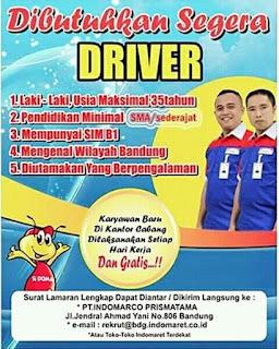 Lowongan kerja supir sopir Indomaret Bandung 2020