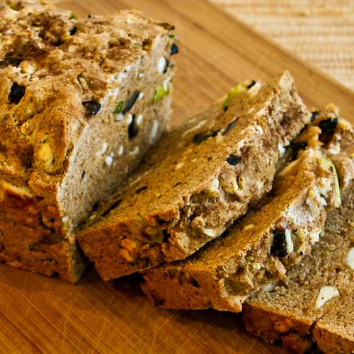 100% Whole Wheat Quick Bread with Za'atar, Feta, Olives, and Green Onions [from KalynsKitchen.com]