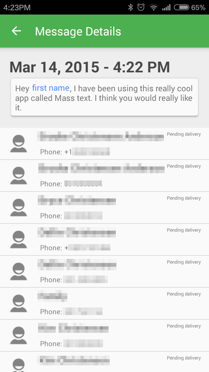 How to personalize a mass (group or bulk) text message