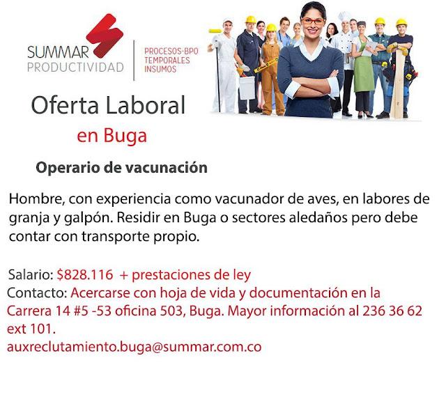 #Empleo como Operario de Vacunacion en Buga