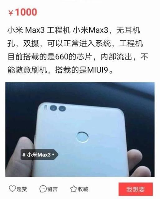 Harga dan Spesifikasi Xiaomi Mi Max 3 terbaru 2018