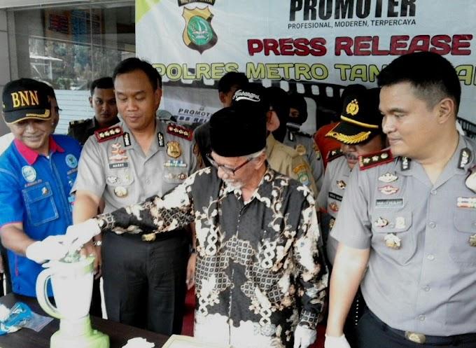 Polrestro Tangerang Musnahkan 400 Gram Sabu