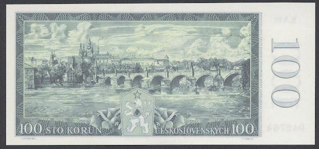 World money Czechoslovakia Prague 100 Czech koruna bank notes