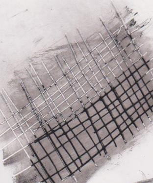 Gambar Teknik Sketsa Murni goresan tinta Oi menggunakan paku di atas kertas