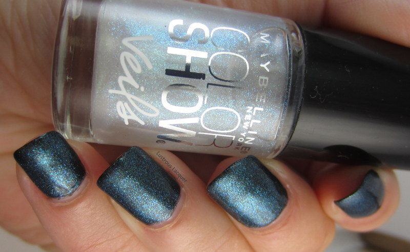 Teal and blue shimmer nail polsh