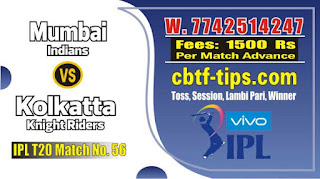 IPL Match Today 56th Match Prediction Tips by Experts MI vs KKR