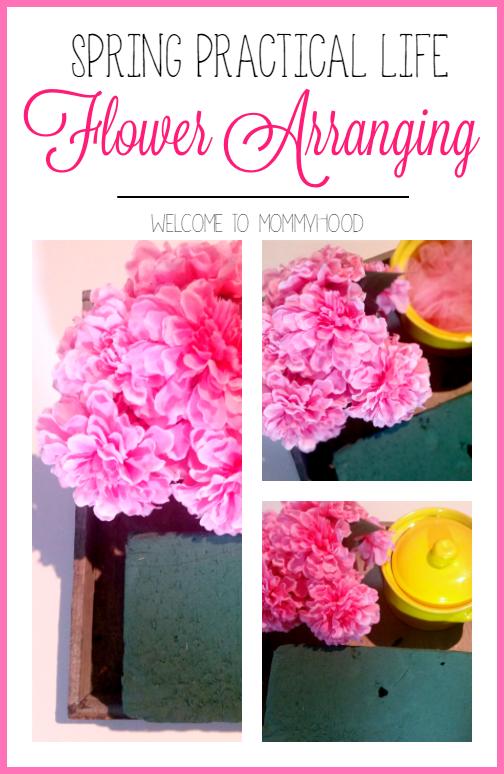 Spring preschool activities: flower arranging by Welcome to Mommyhood, #practicallife, #finemotor, #montessoriactivities, #Montessori, #preschoolactivities