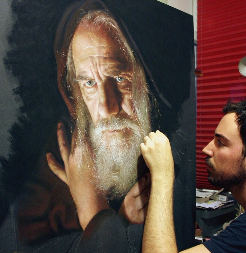 05-wip-Drawings of Fictional Characters in Pastel on Wooden Canvas