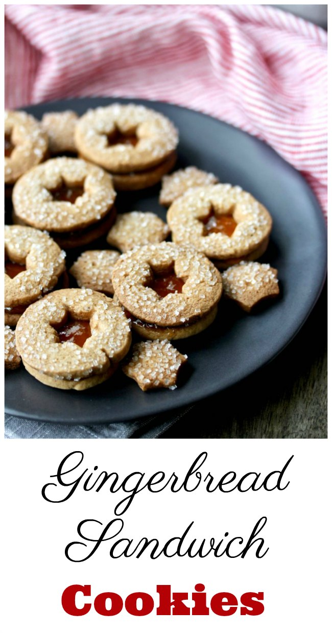 Slice and Bake Gingerbread Sandwich Cookies with sparkling sugar