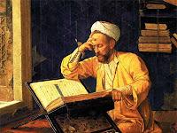 Bir rahlede kitap okurken düşünen bir müçtehidi gösteren resim