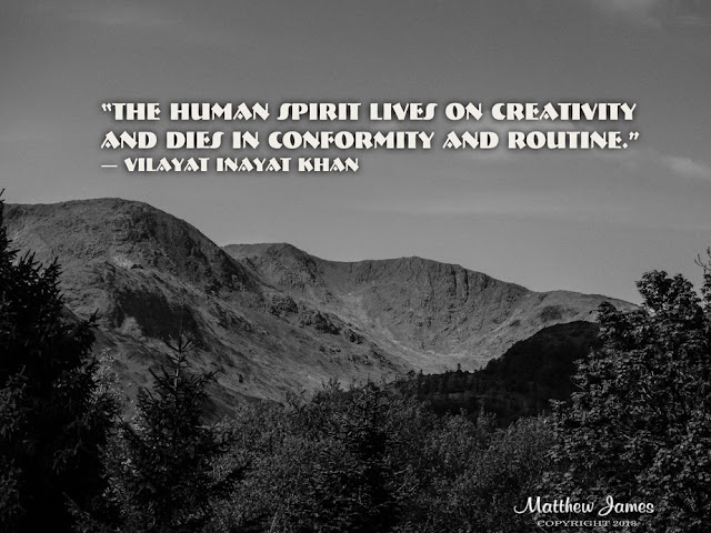 """The human spirit lives on creativity and dies in conformity and routine."" ― Vilayat Inayat Khan"