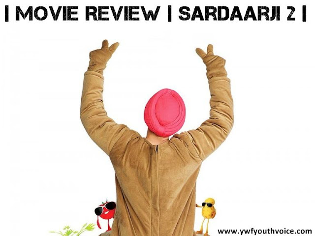 Sardaarji 2 Movie Review, Sardaarji 2 Movie Poster showing Diljit Dosanjh dancing hands and symbolizing two with fingers