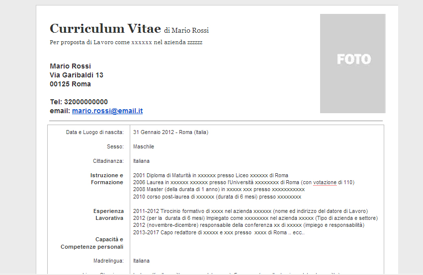 Cv Formato Europeo Download Word Firmakoek
