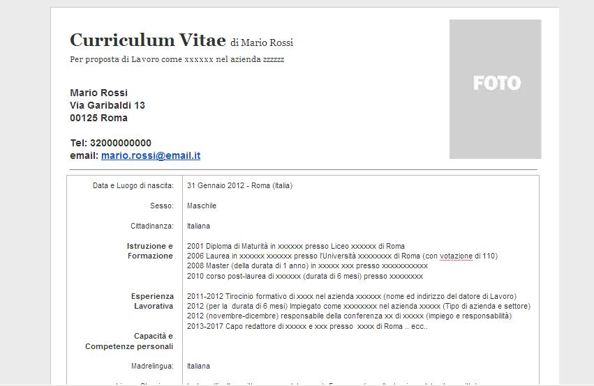 Curriculum Vitae Esempi Europass Curriculum Vitae Formato Europeo Compilato Bestsellerbookdb