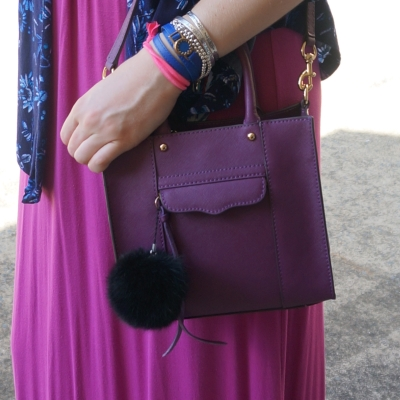 bracelet stack with Rebecca Minkoff mini MAB tote in plum purple with pink dress | AwayFromTheBlue