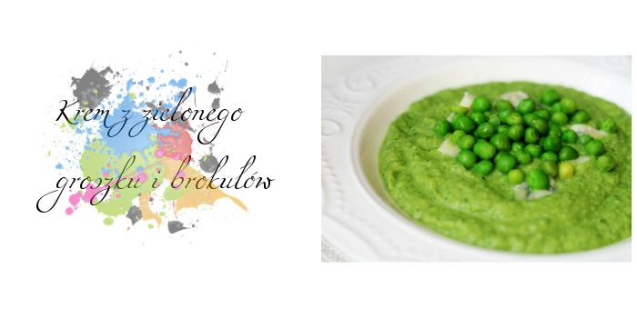 Krem z zielonego groszku i brokułów