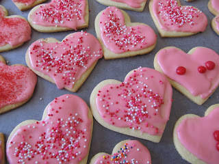 heart sugar cookies with pink frosting