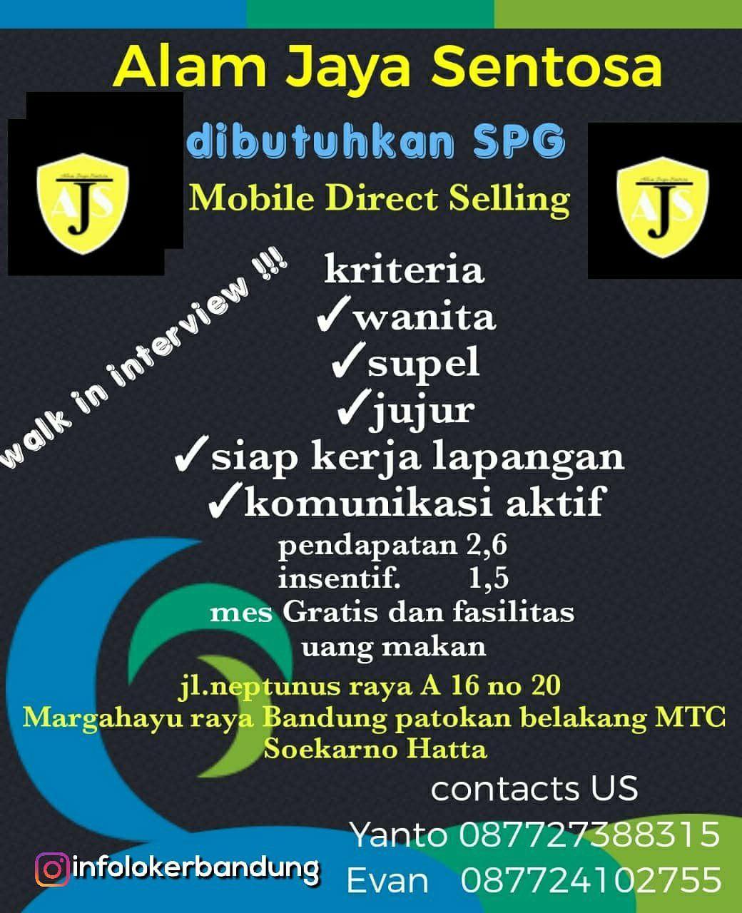 Lowongan Kerja PT. Alam Jaya Sentosa Bandung Desember 2018