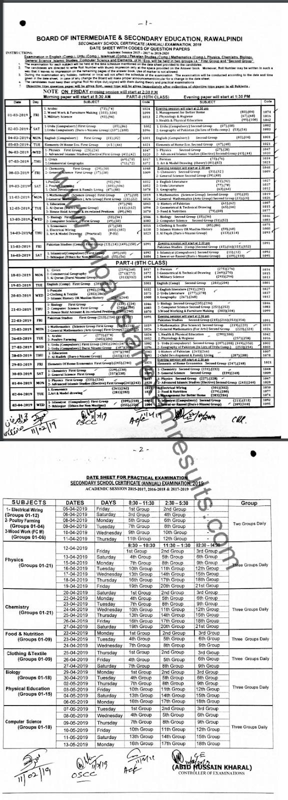 BISE Rawalpindi 10th Class Date Sheet 2019