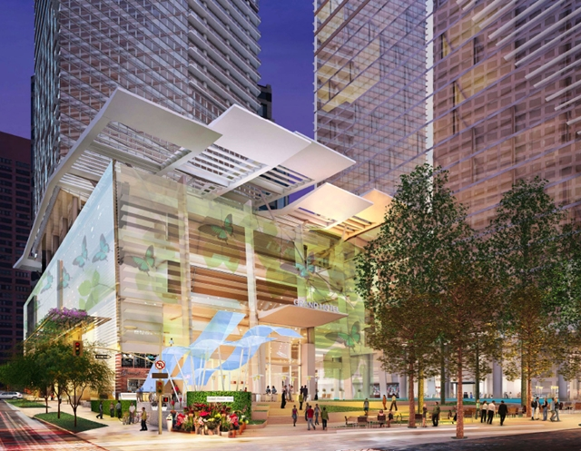 Rendering of the entrance of Wilshire Grand by AC Martin Partners, Los Angeles, USA