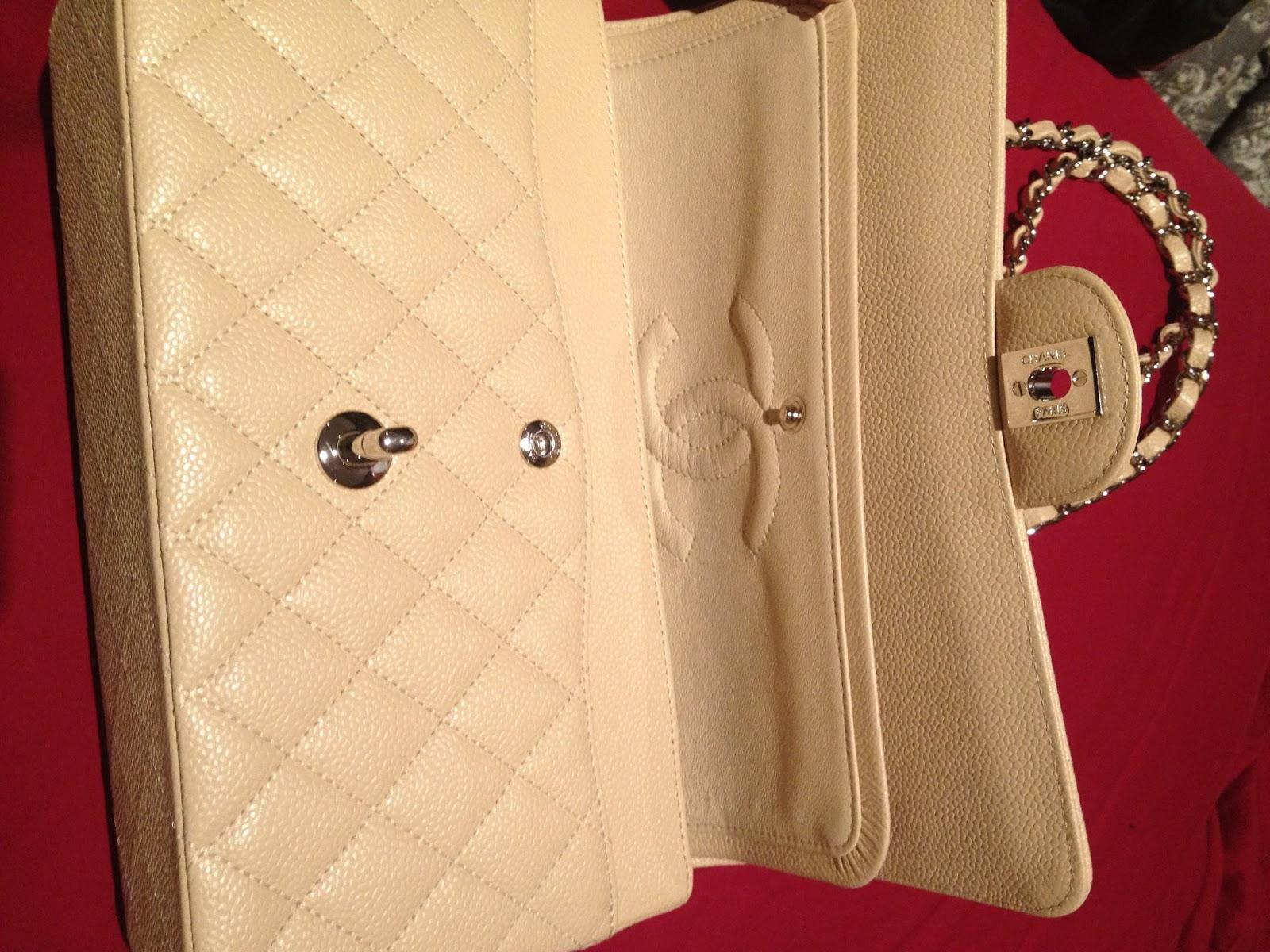 5c0ddb3f953e Close up of the actual bag: 100% BRAND NEW CHANEL CLASSIC FLAP BAG MEDIUM  BEIGE CAVIAR