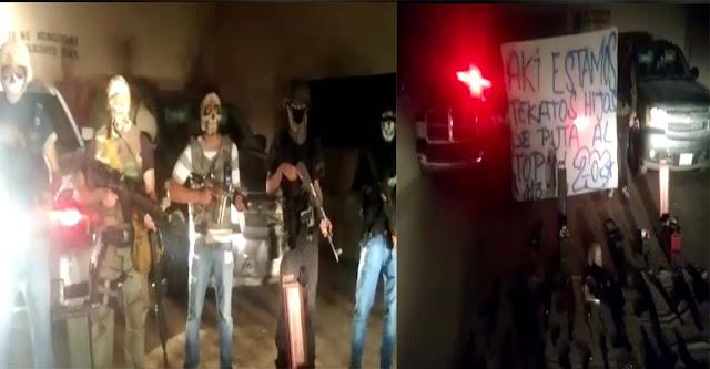 """VIDEO: Sicarios de la """"AA"""" retan al """"topon"""" a los """"Mexicles"""", presumen armas de alto poder en Ciudad Juárez"""