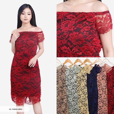 dress brukat warna merah untuk natal 2018-2019
