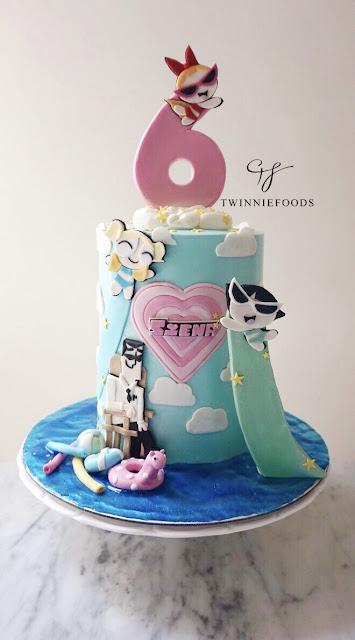 Powerpuff girls cake pool party