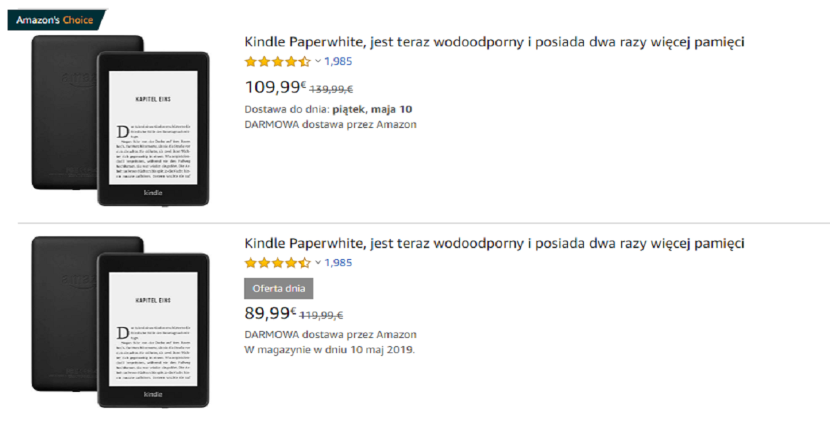 Kindle Paperwhite 4 przeceniony o 30 EUR z okazji Dnia Matki