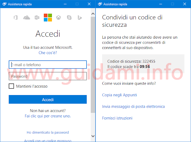 Windows 10 app Assistenza rapida accesso con account Microsoft e codice sicurezza