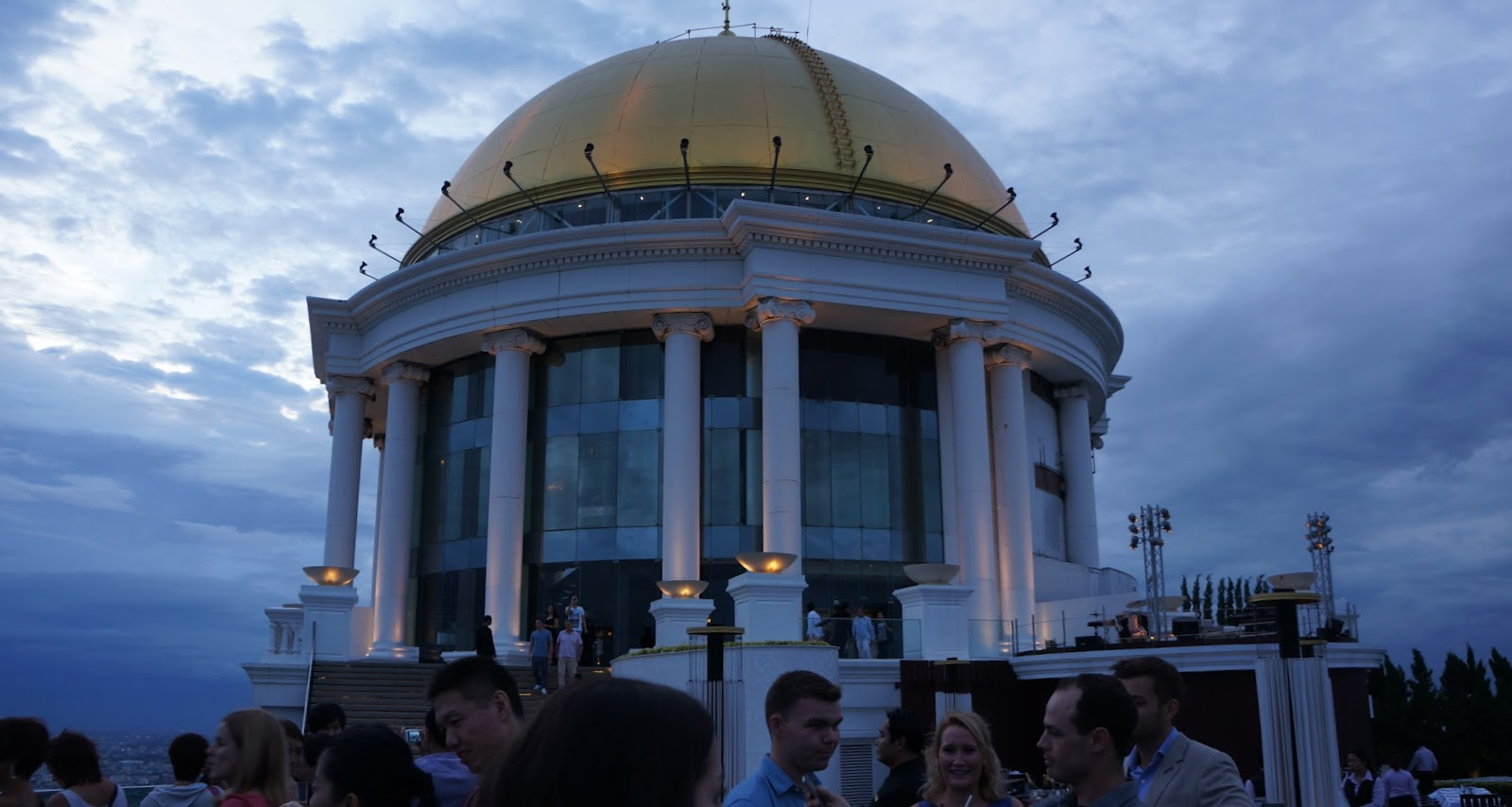The golden dome of Lebua State Tower. The skybar has a strict dress code, make sure you dress appropriately or you might be denied from entering
