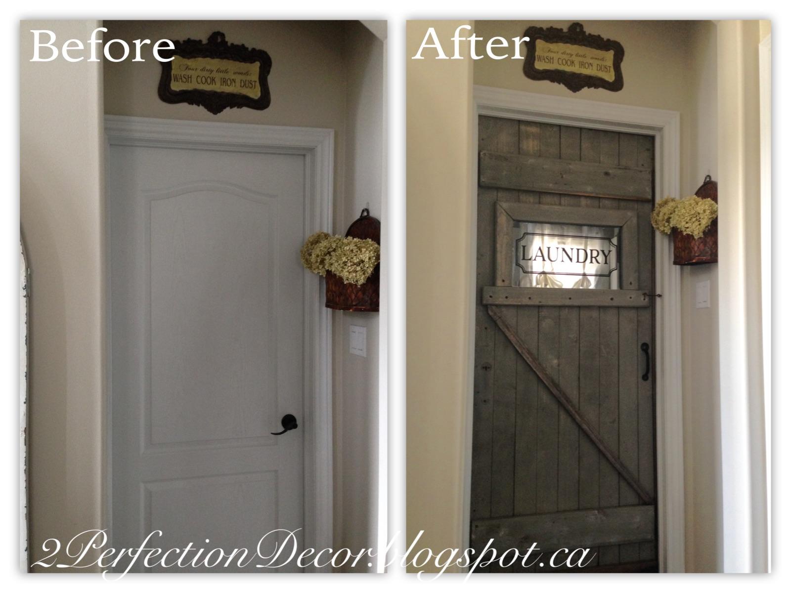 2Perfection Decor Antique Barn Door as our Laundry room door