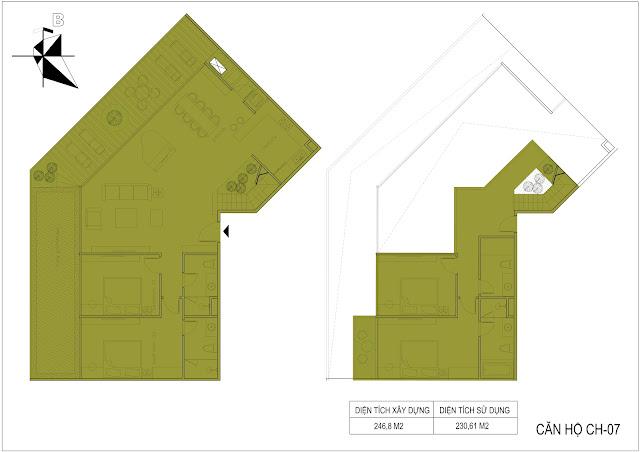 Thiết kế căn hộ biệt thự Sky Villas Sunshine Crystal River Ciputra tây hồ