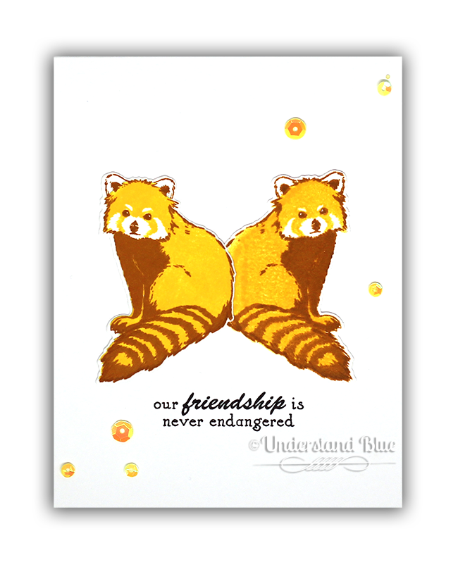 Mirror Image stamping and die cutting Hero Arts Red Panda card by Understand Blue