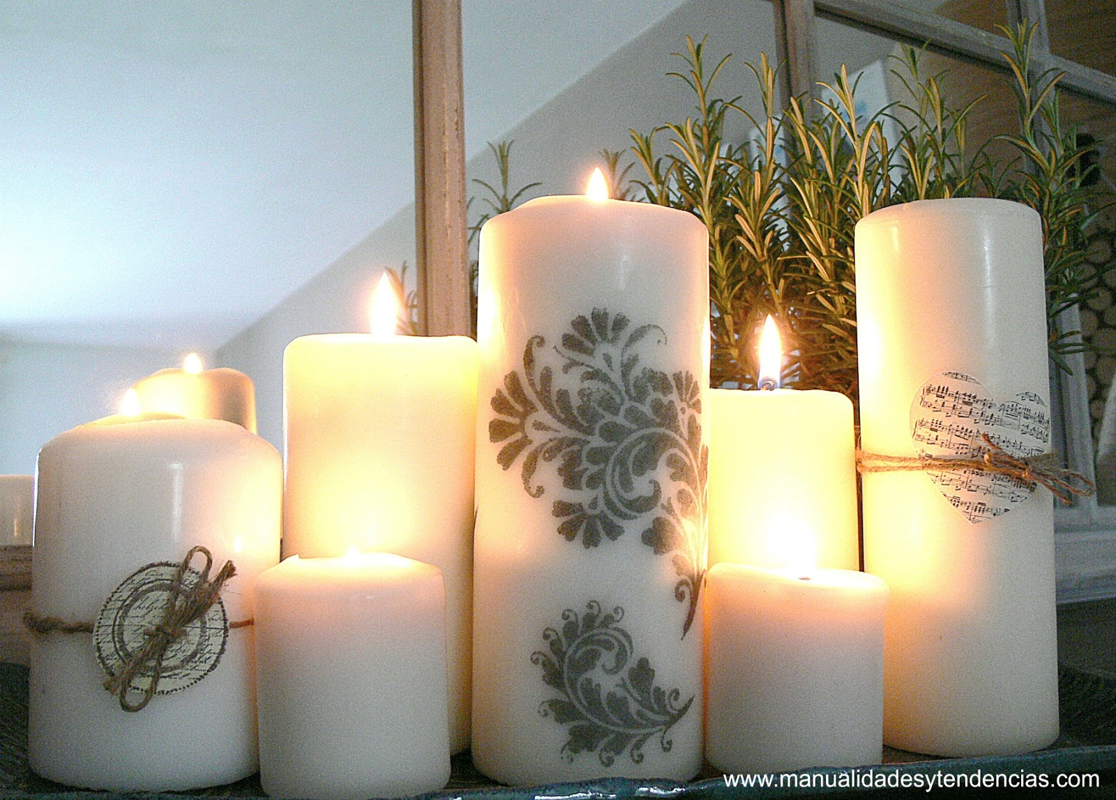 Manualidades y tendencias c mo decorar velas con sellos candle decorating idea - Decorar con velas ...