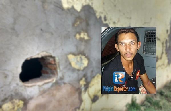 Em Piripiri, preso foge da cadeia por buraco cavado na parede