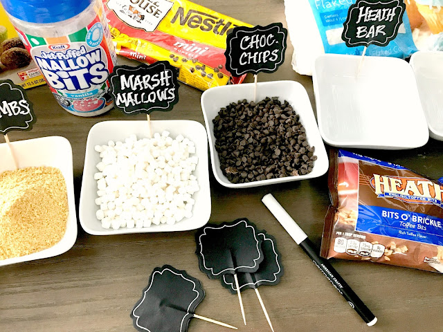 Gather all kind of toppings for an Apple Dippin' Bar.